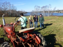 Michael Hayden and tractor with Pam Dyer Stewart, Kristen Nabarrete and son, and Tony Mullaney